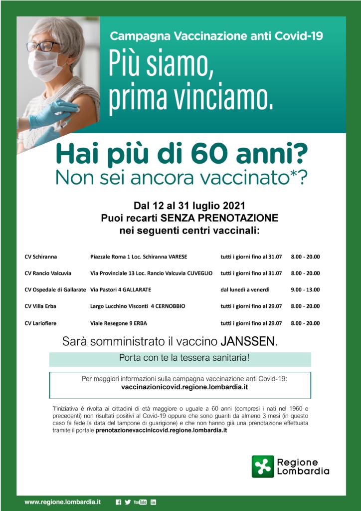 I: Progetto per l'aumento dell'adesione alla campagna vaccinale anticovid per i cittadini di età maggiore di 60 anni
